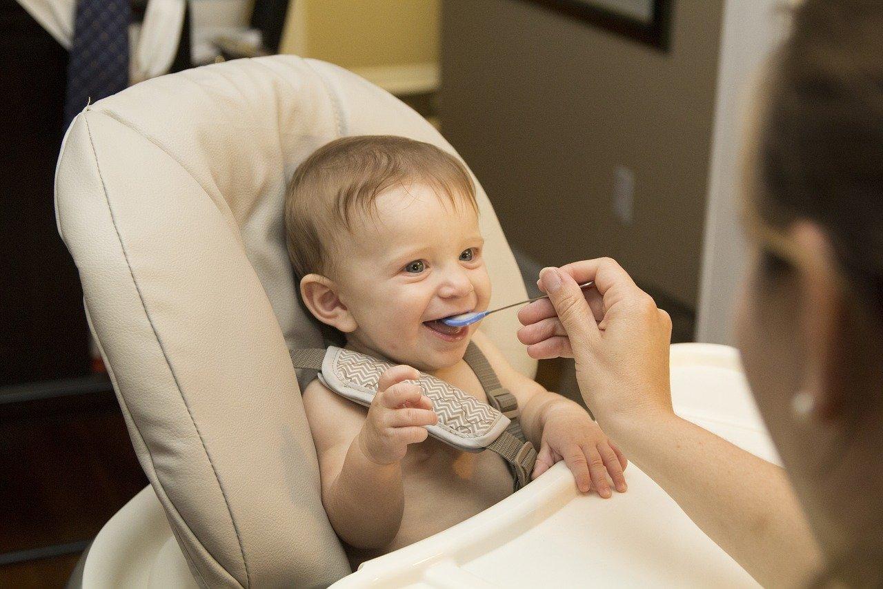 petit enfant dans un chaise haute qu'on fait manger